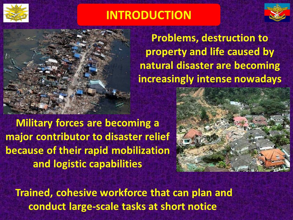 INTRODUCTION Problems, destruction to property and life caused by natural disaster are becoming increasingly intense nowadays.