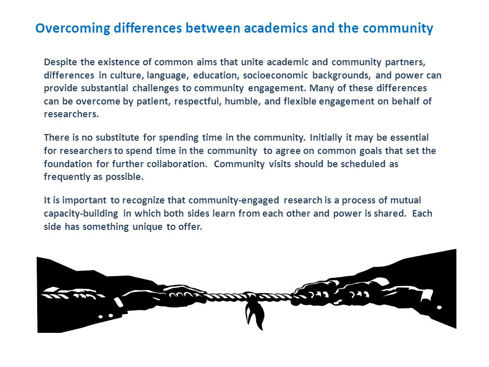 Overcoming differences between academics and the community