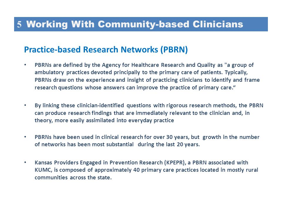 5 Working With Community-based Clinicians