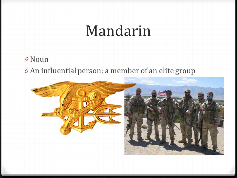 Mandarin Noun An influential person; a member of an elite group