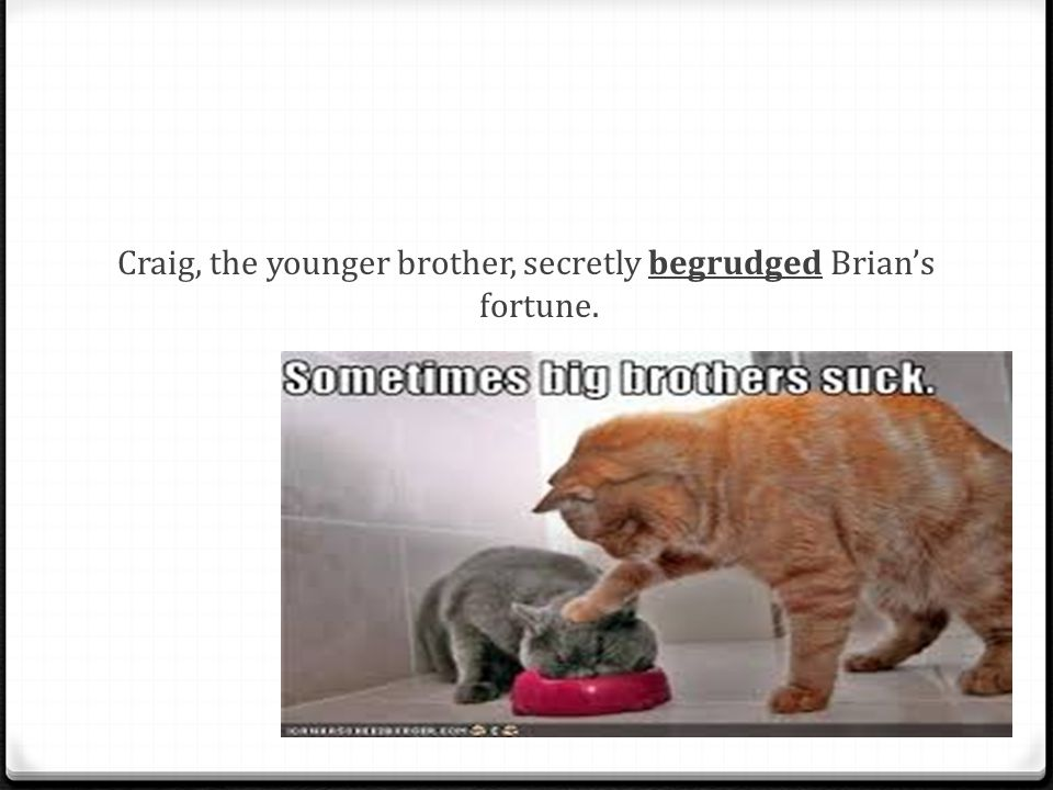 Craig, the younger brother, secretly begrudged Brian's fortune.