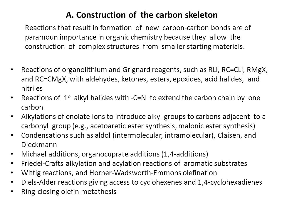 A. Construction of the carbon skeleton