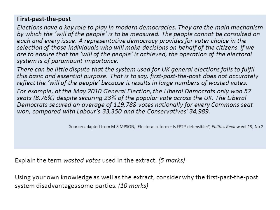 Explain the term wasted votes used in the extract. (5 marks)