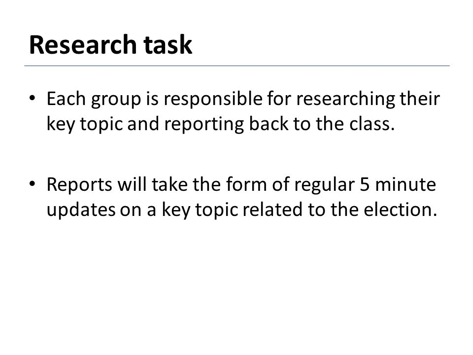 Research task Each group is responsible for researching their key topic and reporting back to the class.