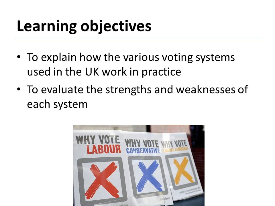 Learning objectives To explain how the various voting systems used in the UK work in practice.