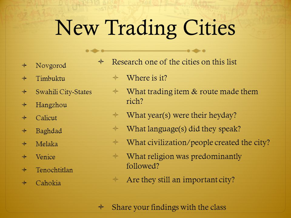 New Trading Cities Research one of the cities on this list
