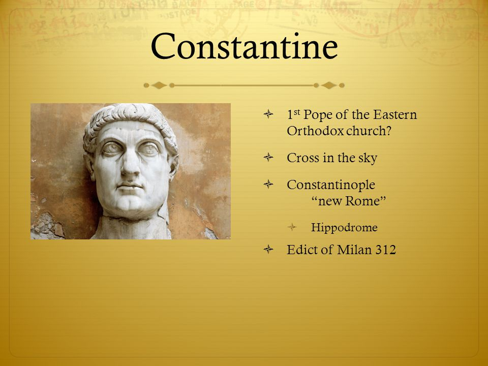 Constantine 1st Pope of the Eastern Orthodox church Cross in the sky