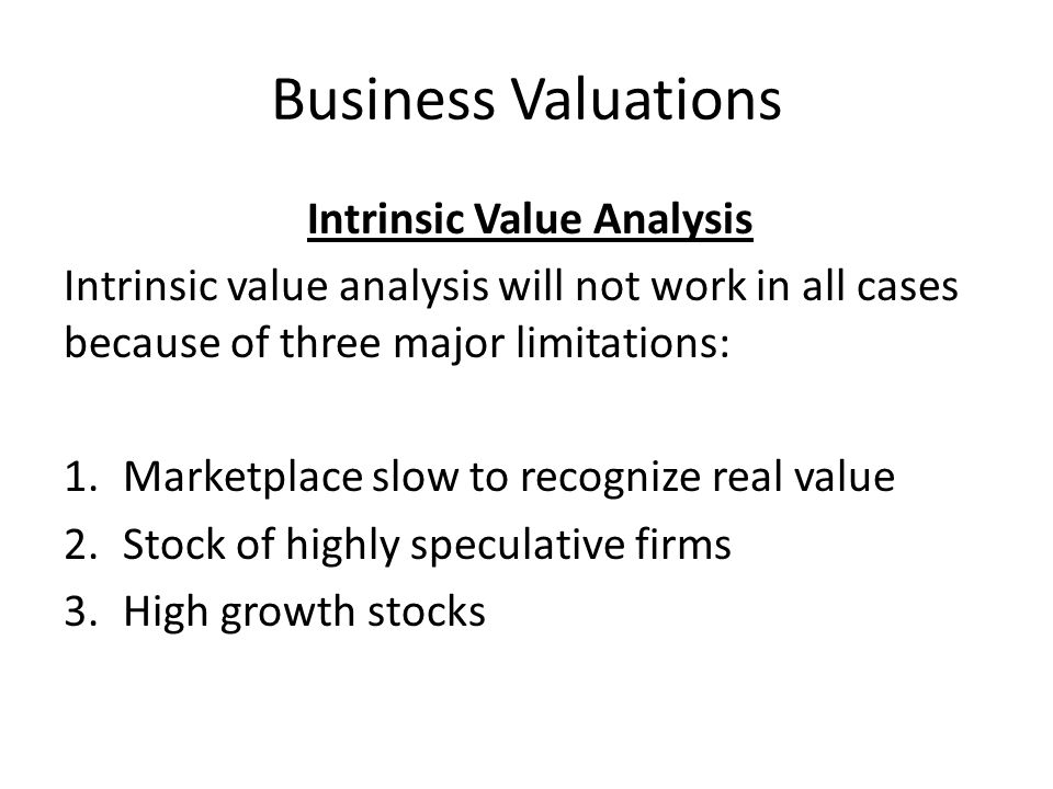 Business Valuations Intrinsic Value Analysis