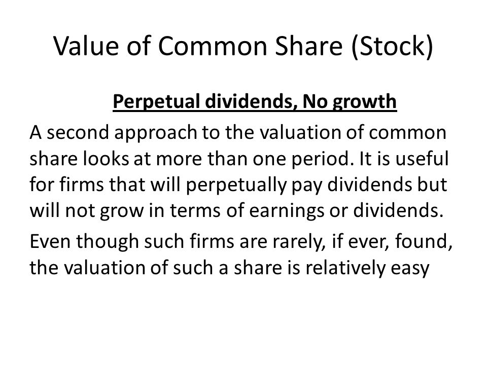 Value of Common Share (Stock)
