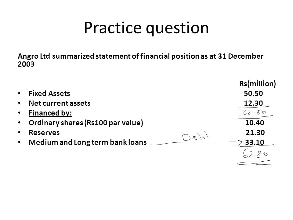 Practice question Angro Ltd summarized statement of financial position as at 31 December 2003. Rs(million)