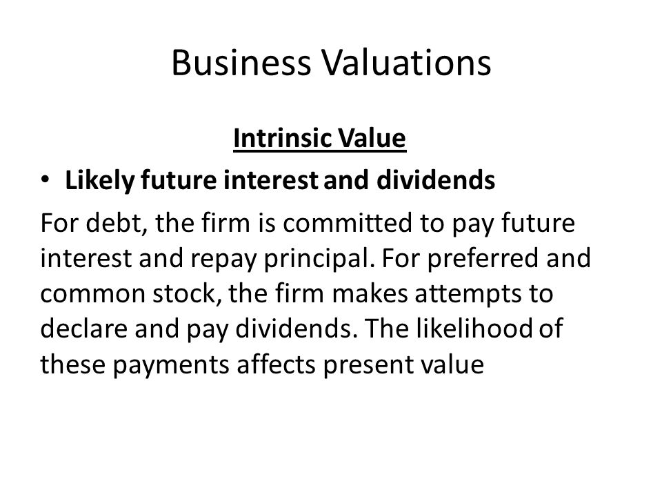 Business Valuations Intrinsic Value
