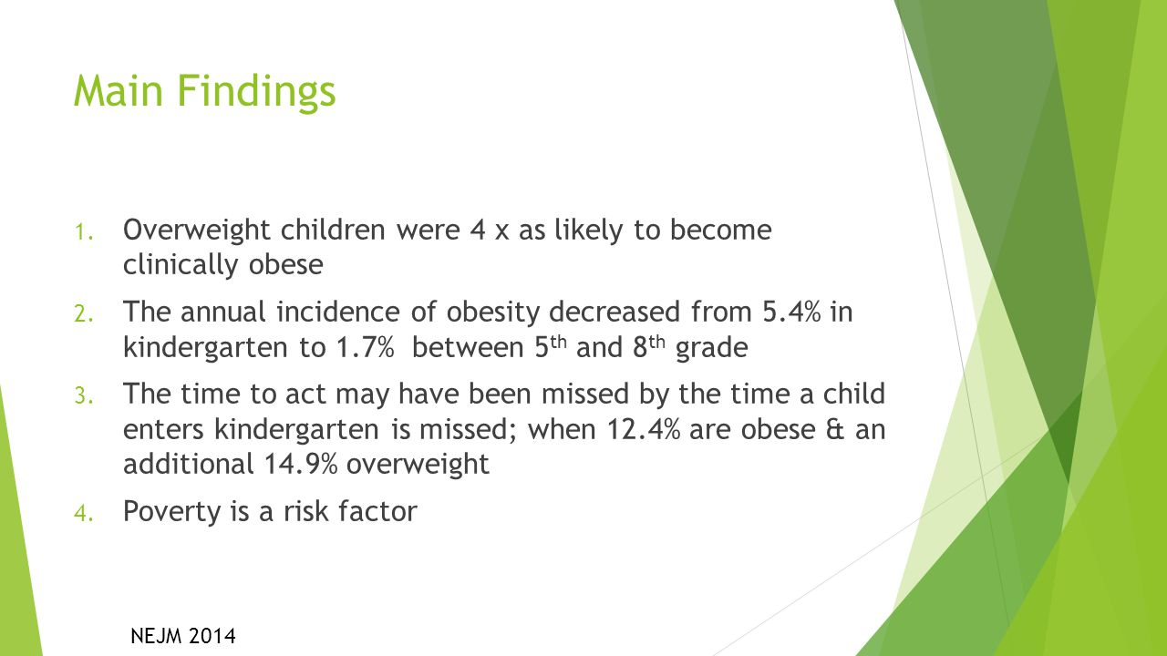 Main Findings Overweight children were 4 x as likely to become clinically obese.