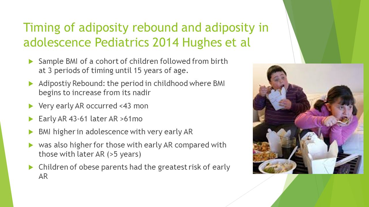Timing of adiposity rebound and adiposity in adolescence Pediatrics 2014 Hughes et al