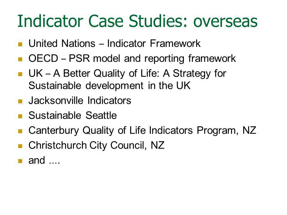 Indicator Case Studies: overseas