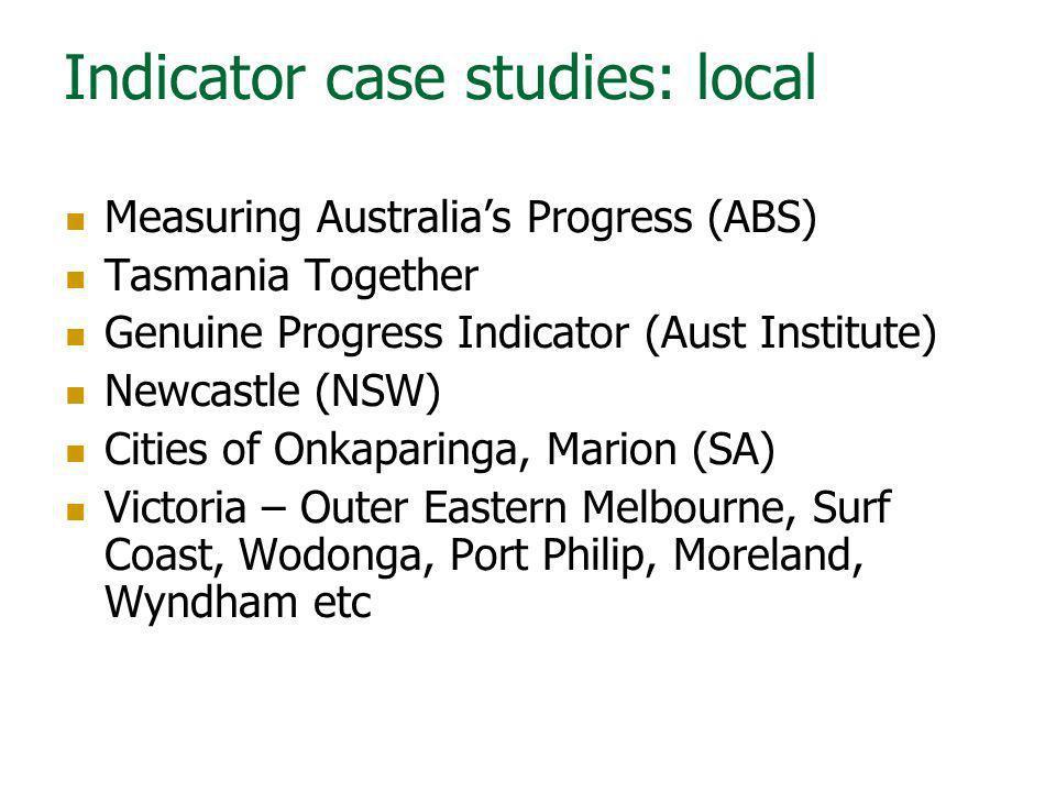 Indicator case studies: local