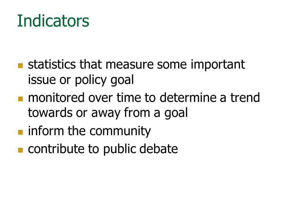 Indicators statistics that measure some important issue or policy goal