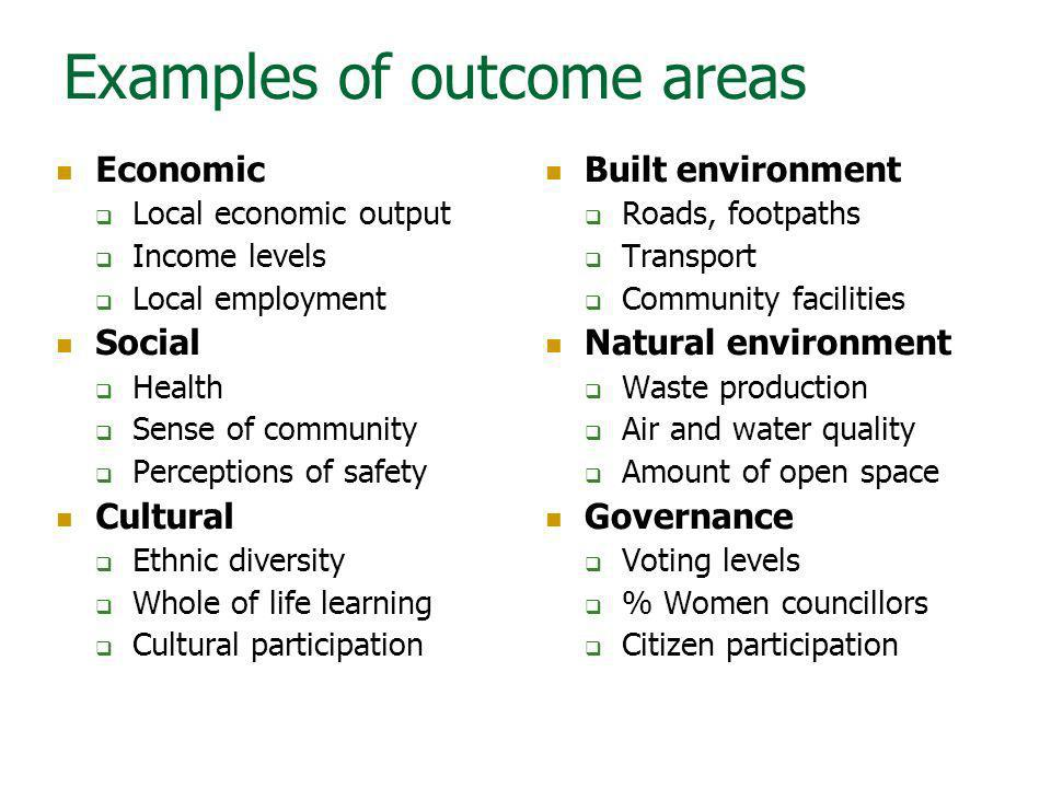 Examples of outcome areas