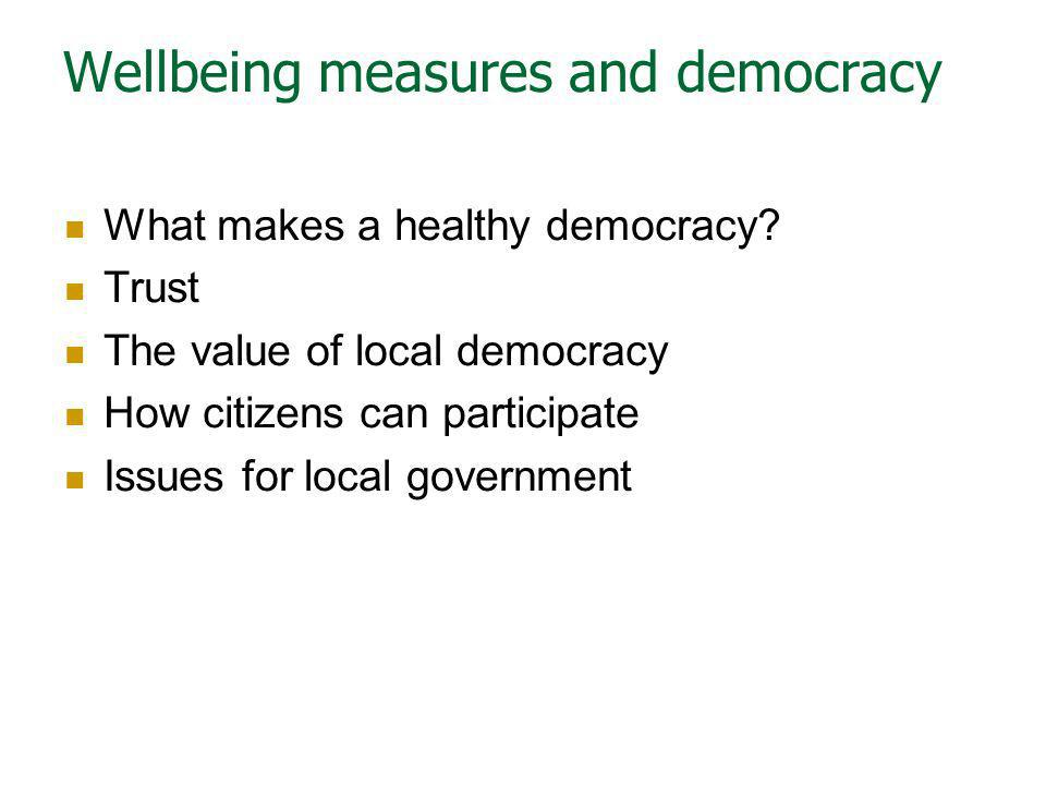 Wellbeing measures and democracy