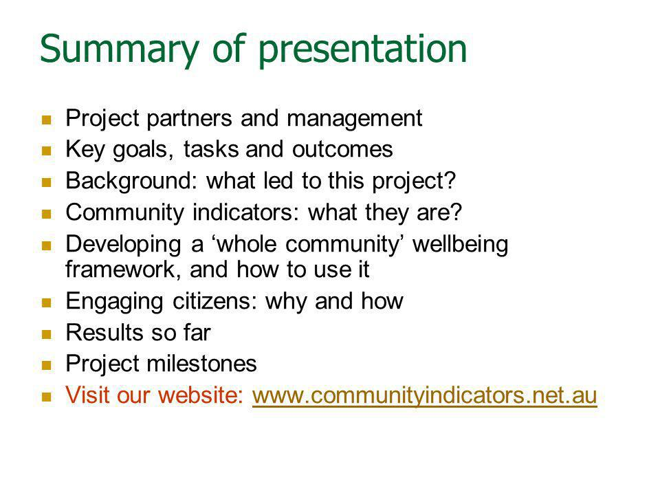 Summary of presentation