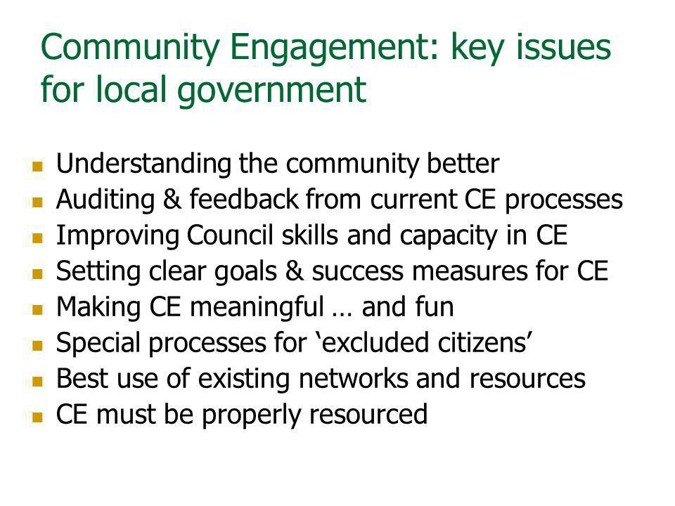 Community Engagement: key issues for local government