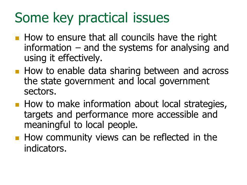 Some key practical issues