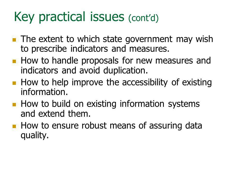 Key practical issues (cont'd)