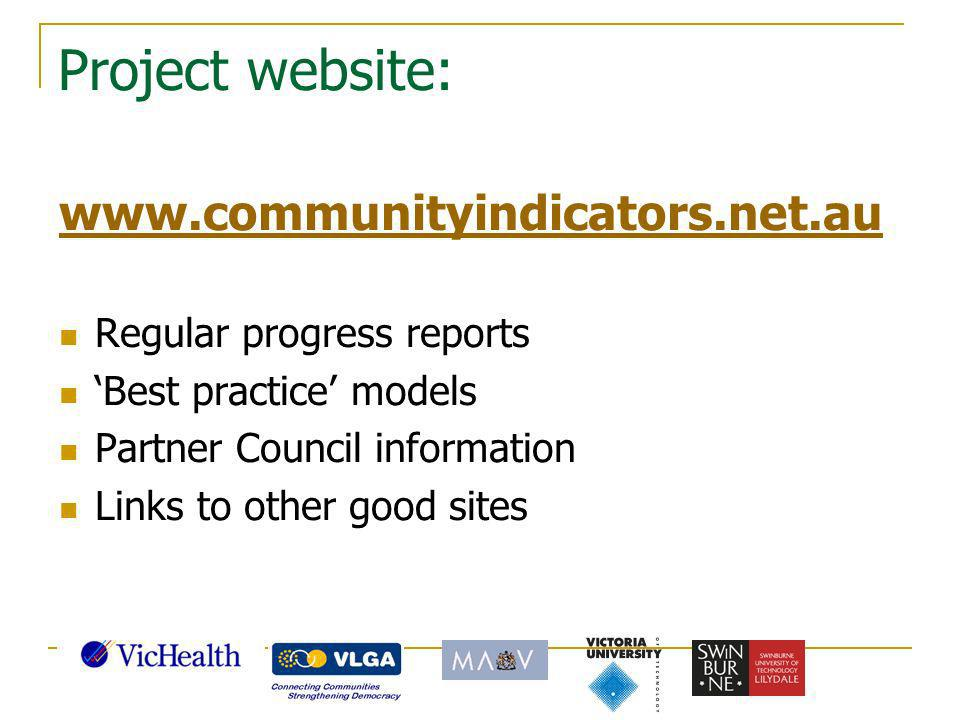 Project website: www.communityindicators.net.au