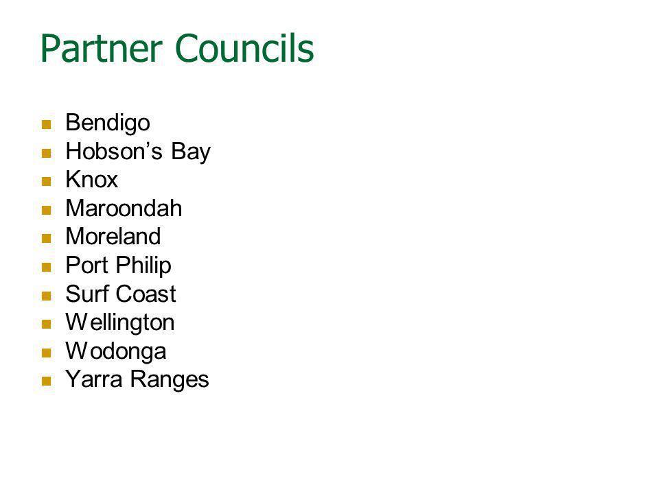 Partner Councils Bendigo Hobson's Bay Knox Maroondah Moreland