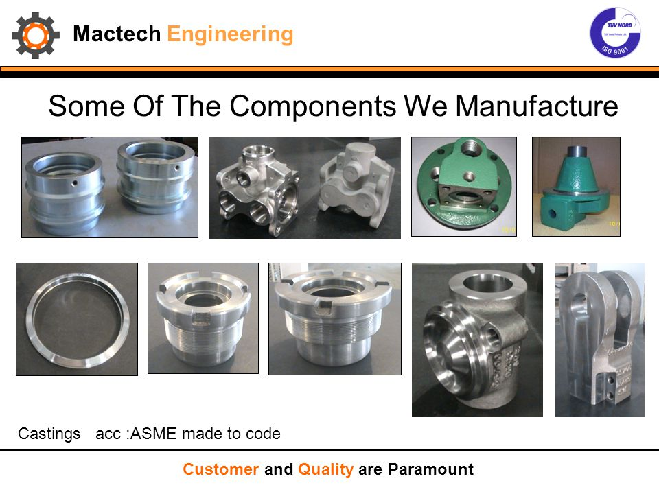 Some Of The Components We Manufacture