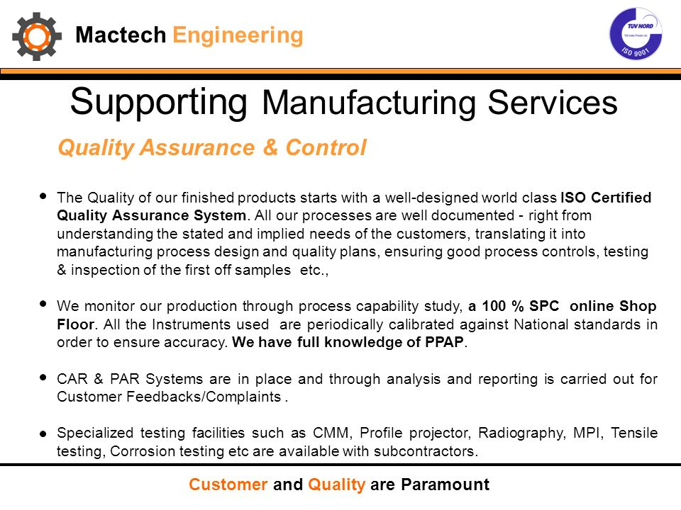 Supporting Manufacturing Services