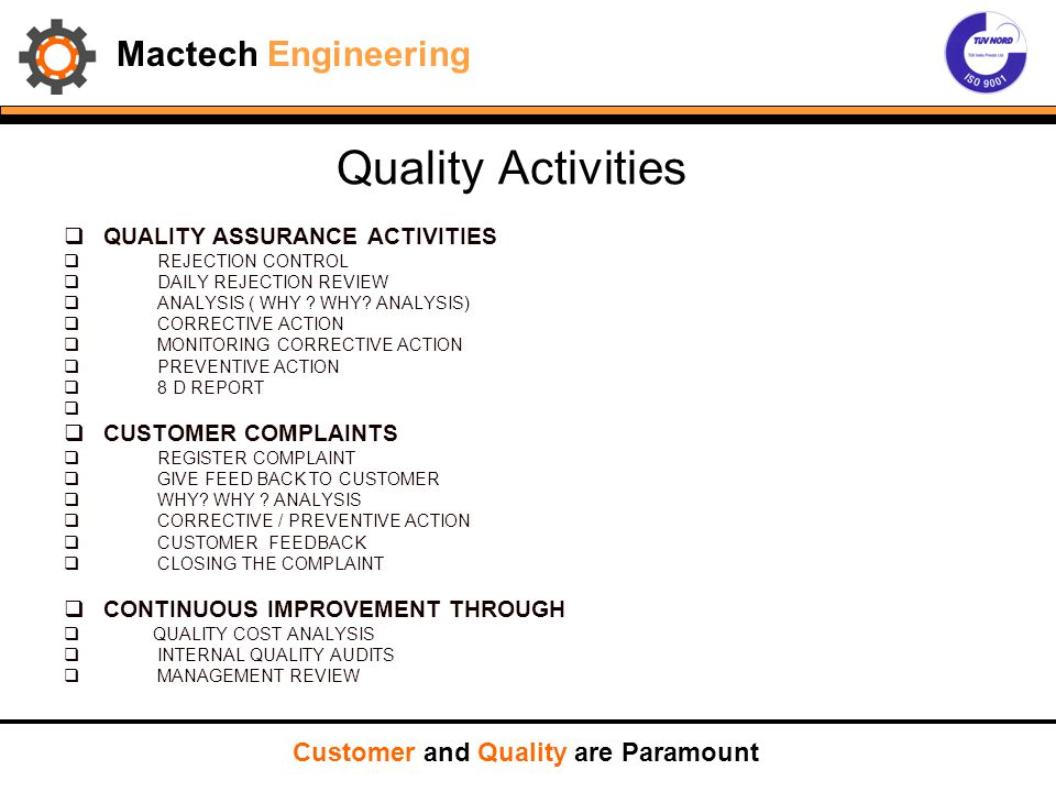 Quality Activities Mactech Engineering