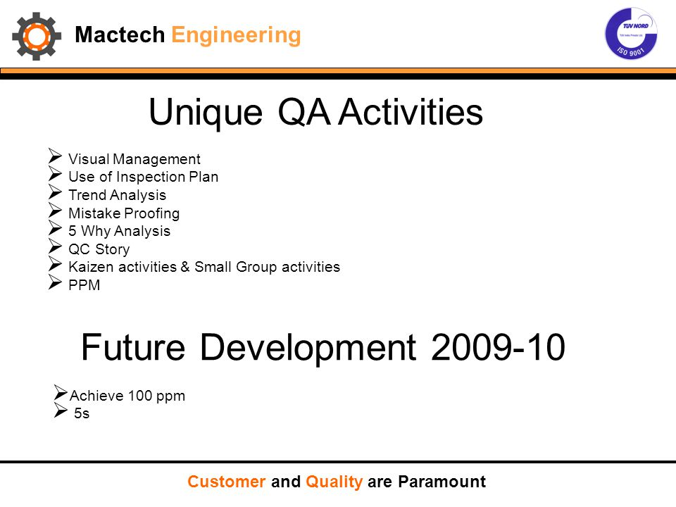 Unique QA Activities Future Development 2009-10 Mactech Engineering