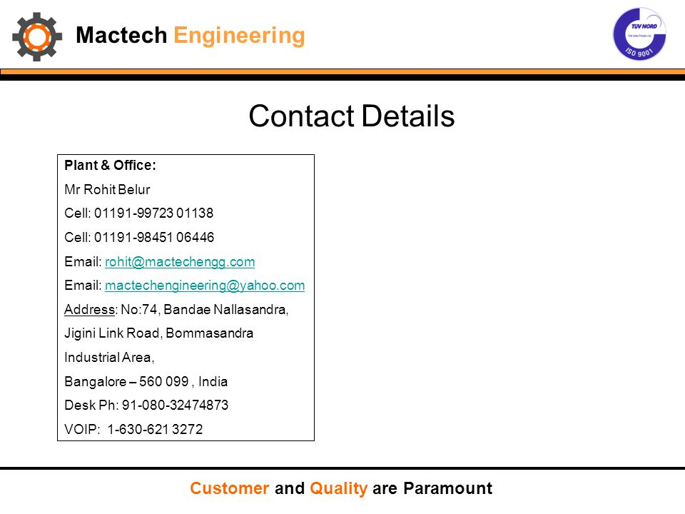 Contact Details Mactech Engineering Customer and Quality are Paramount