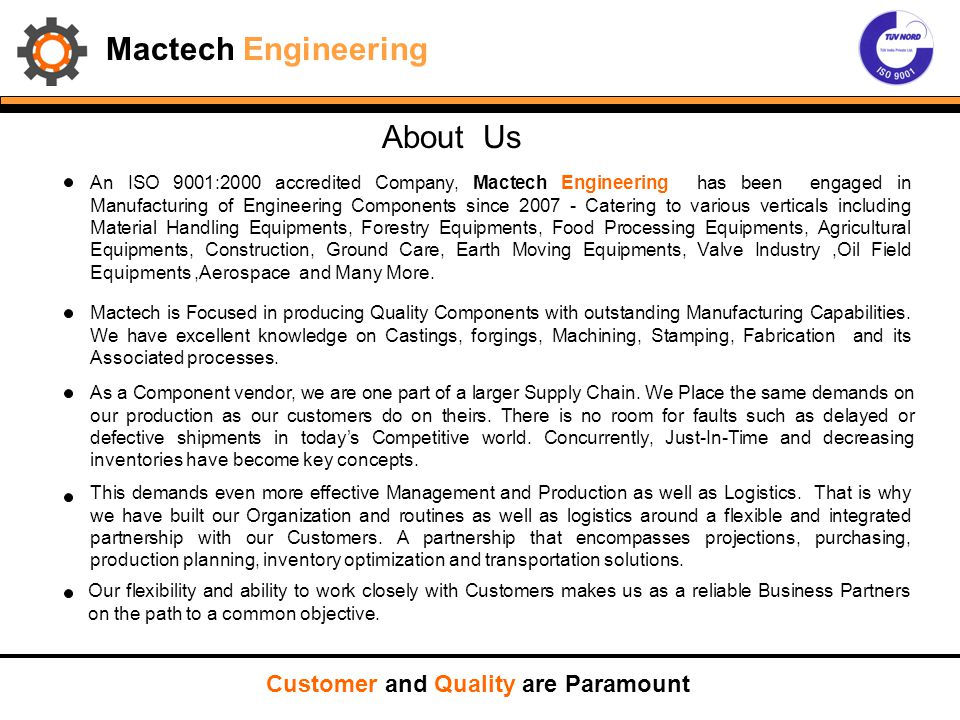 Mactech Engineering About Us Customer and Quality are Paramount