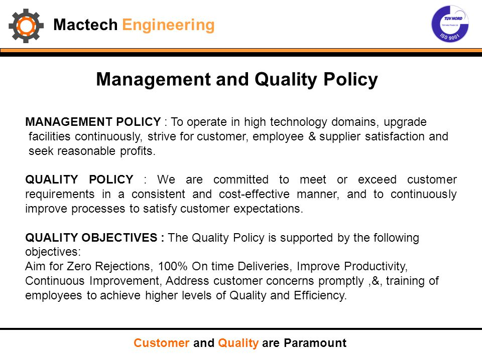 Management and Quality Policy