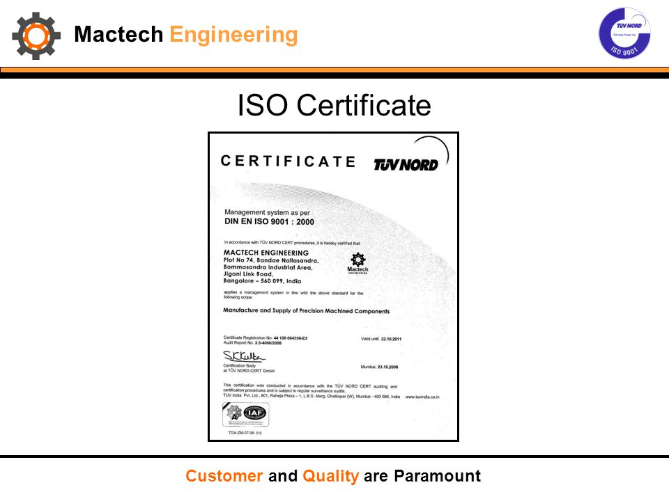 Mactech Engineering ISO Certificate Customer and Quality are Paramount