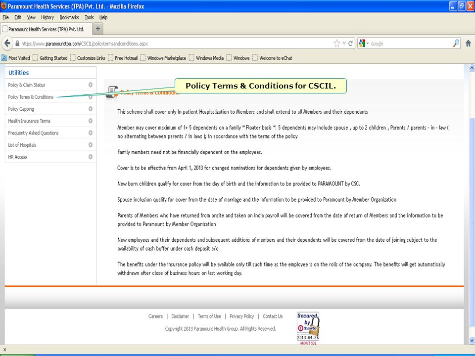 Policy Terms & Conditions for CSCIL.