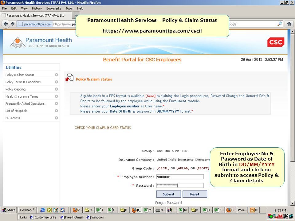Paramount Health Services – Policy & Claim Status