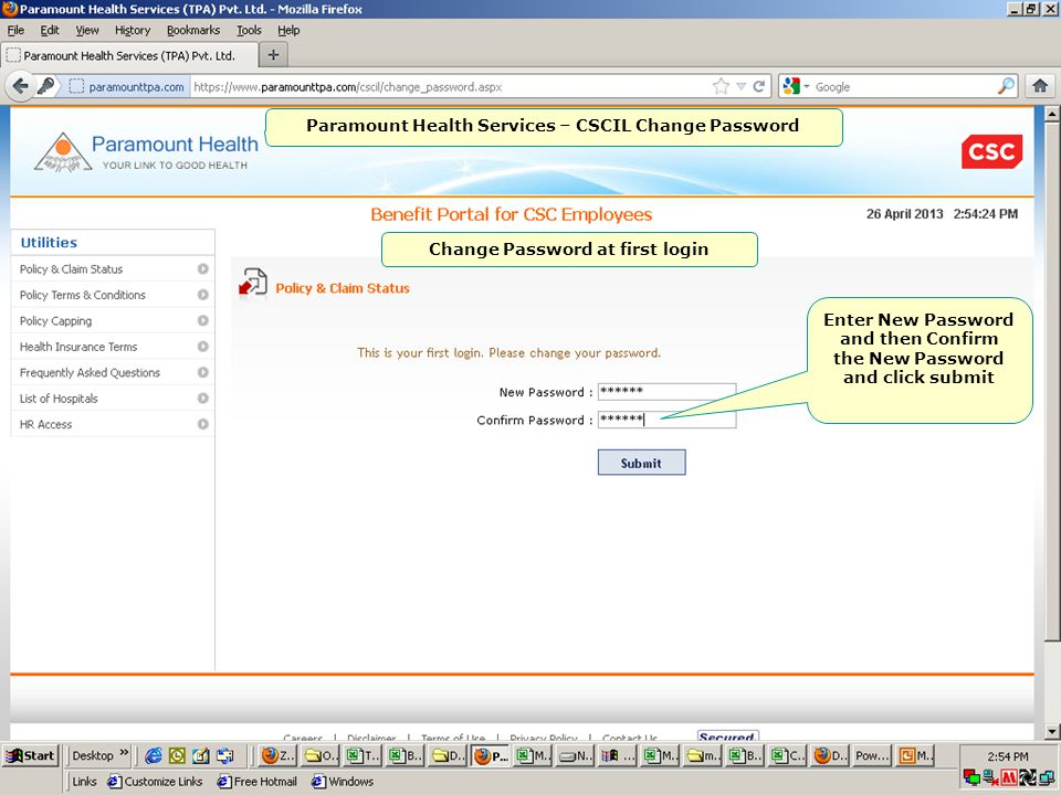 Home page Paramount Health Services – CSCIL Change Password