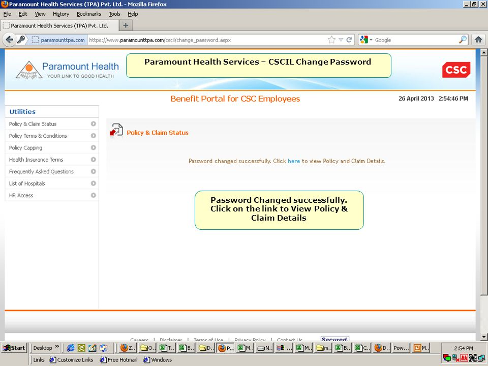 Paramount Health Services – CSCIL Change Password