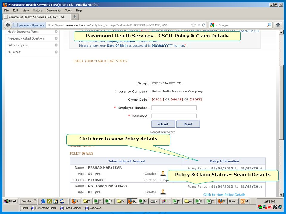 Home page Paramount Health Services – CSCIL Policy & Claim Details