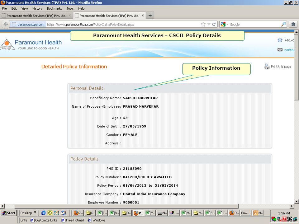 Paramount Health Services – CSCIL Policy Details