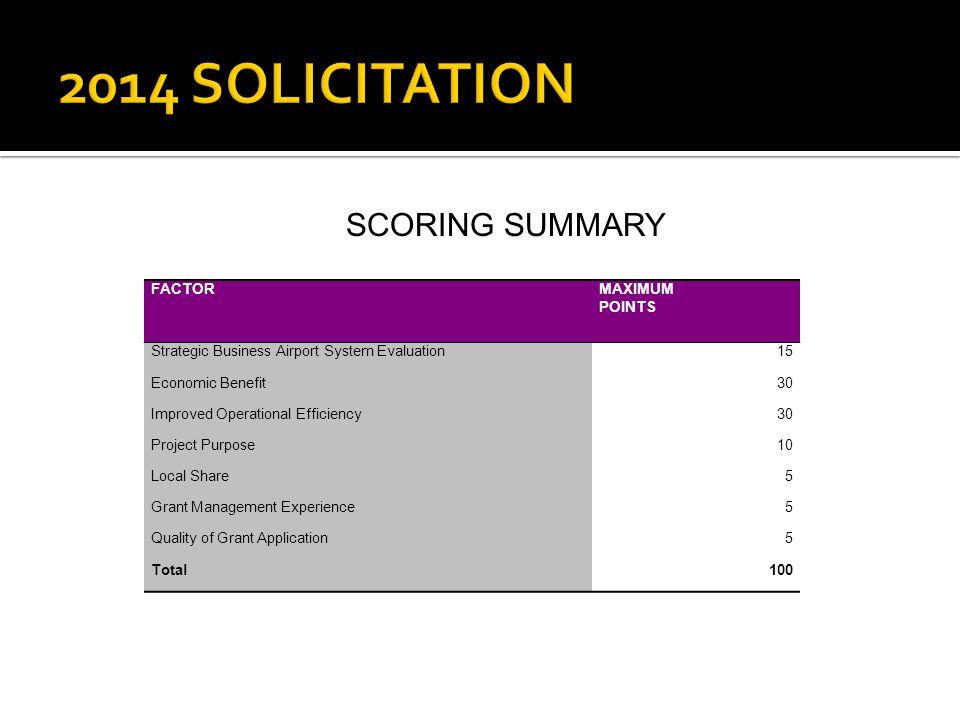 2014 SOLICITATION SCORING SUMMARY FACTOR MAXIMUM POINTS