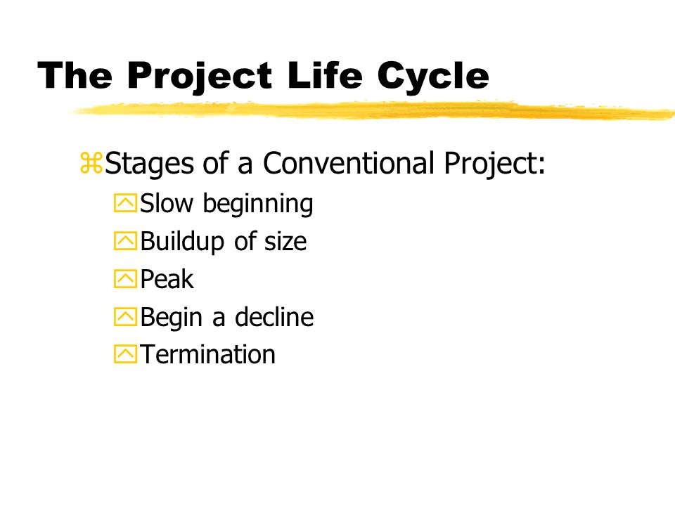 The Project Life Cycle Stages of a Conventional Project: