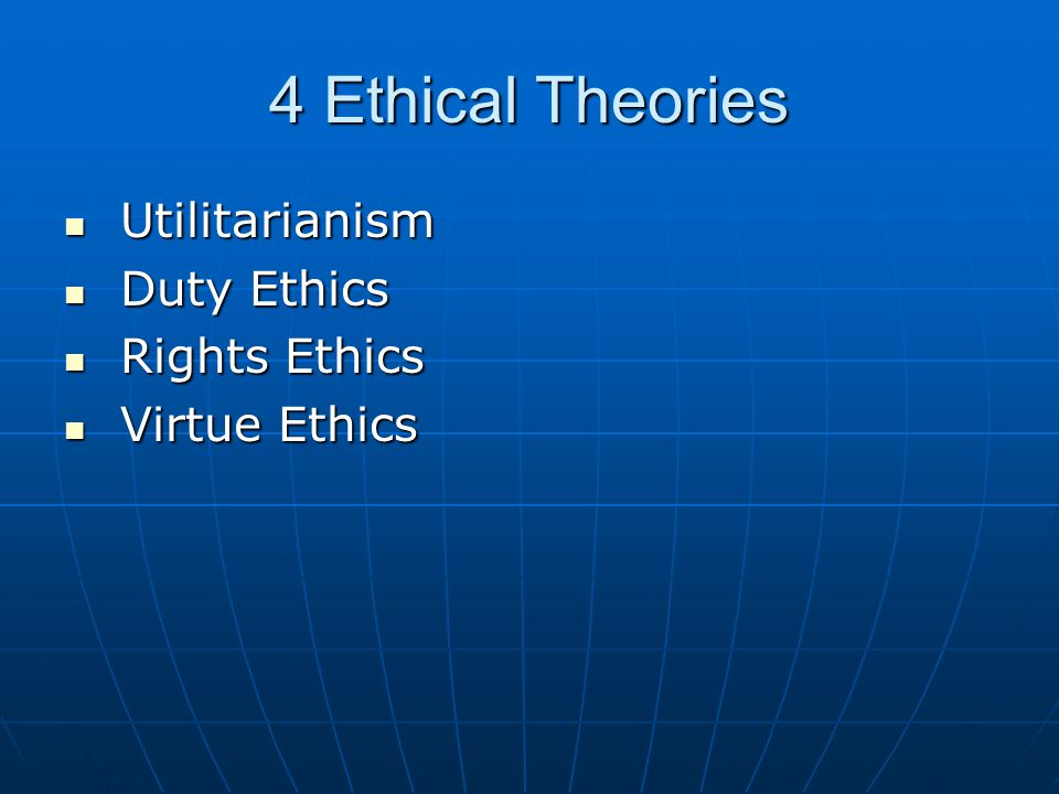 4 Ethical Theories Utilitarianism Duty Ethics Rights Ethics