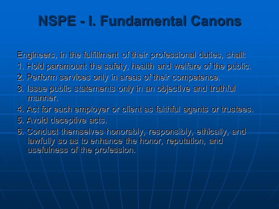 NSPE - I. Fundamental Canons