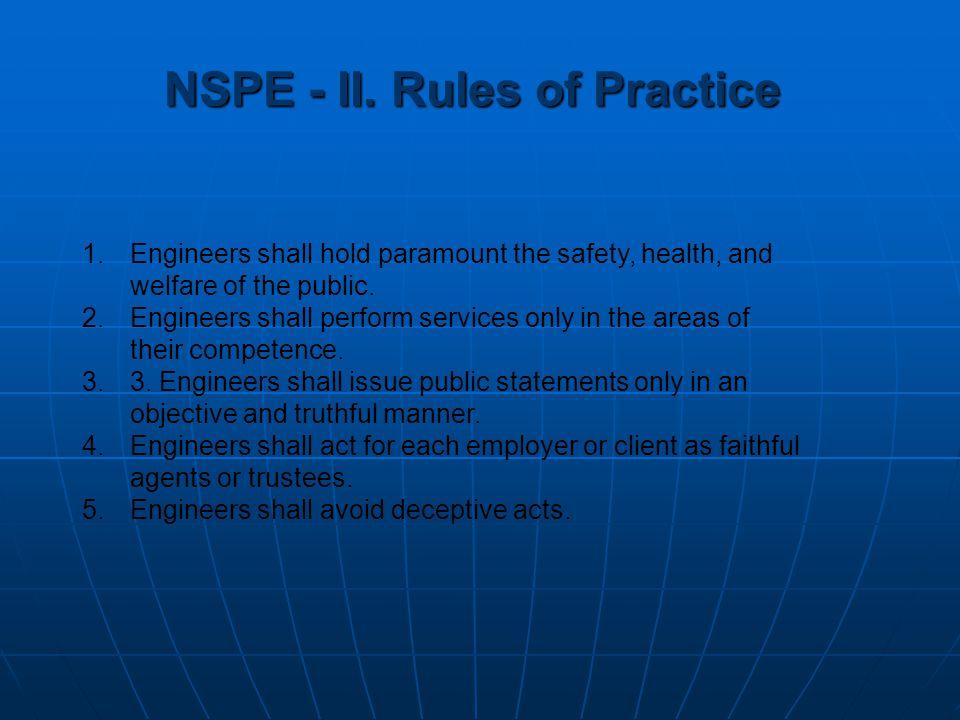 NSPE - II. Rules of Practice