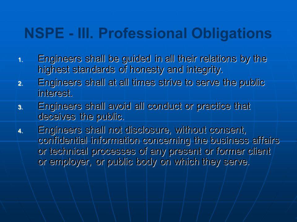 NSPE - III. Professional Obligations