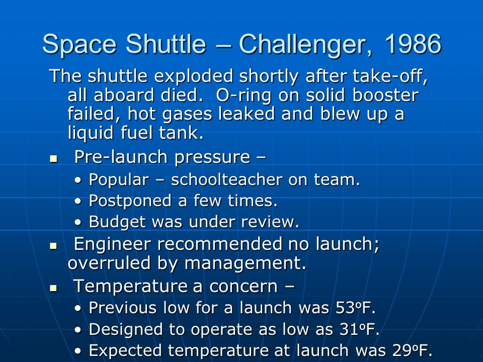 Space Shuttle – Challenger, 1986