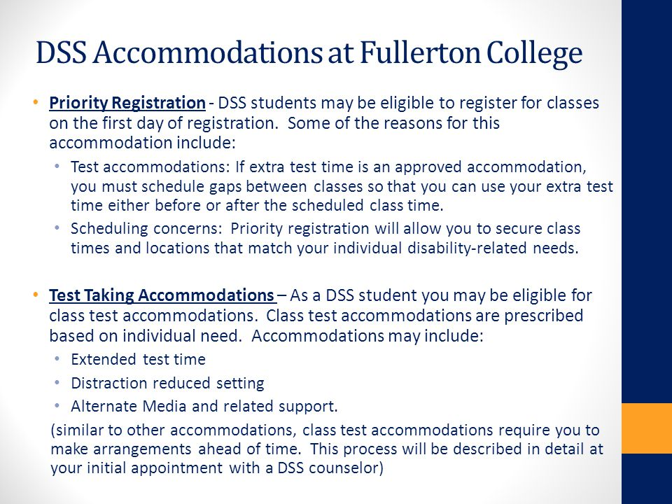 DSS Accommodations at Fullerton College